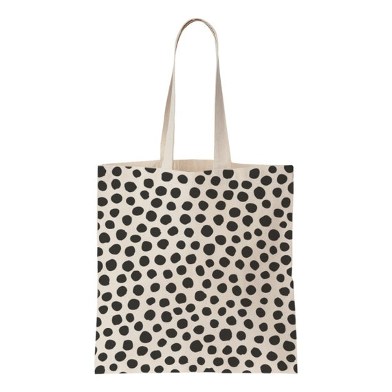 Polka dot screen printed cotton tote bag