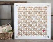 Rustic Wedding Guest book - heart guestbook -  alternative guestbook frame - Custom 3D guestbook hearts