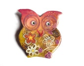 Owl brooch owl pin named ALIETTE, Mother's day gift, unique artful owl, gift for owl lovers,  broche chouette hibou - owl collectibles