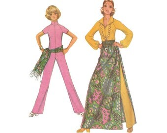 Vintage Zipper Front Jumpsuit with Maxi Overskirt Easy to Sew Mod Pattern Bust 36 1970s Sewing Pattern McCalls 2657  Fringed Sash