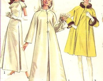 Vintage Glam Evening Gown Dress & Coat Womens Size 10 Sewing Pattern 1960s