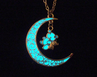 Moon And Bear Necklace Glow In The Dark Moon Bear Jewelry Pendant Glowing Moon Necklace Antique Silver (glows aqua blue)