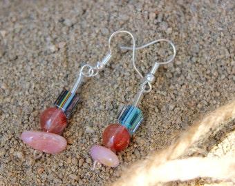 Multi Color Earrings, Pink Opal Chip earrings, Quartz earrings, Pink dangle earrings, Multi Gem earrings, Dichroic glass earrings