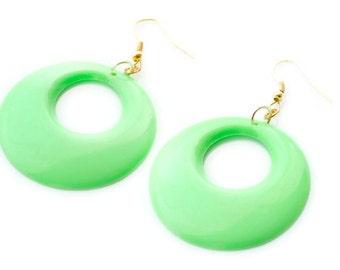 Mod earrings, 60s hoop earrings, Neon Green earrings, Mod Green earrings, Vintage dangle earrings, Green Mod Earrings, 60s mod