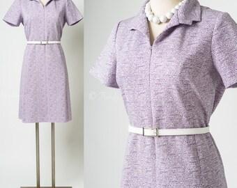 Vintage Purple Dress, Mad Men Dress, Vintage 60s Dress, Vintage Shift Dress, 60s Knit Dress - S/M