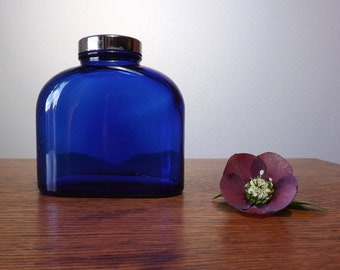 Cobalt Blue Bottle ~ Evening in Paris Bath Salts Bottle with Lid ~ Vintage Bottles ~ Vintage Jar ~ EIP
