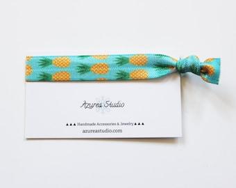 Pineapples Turquoise Hair Tie