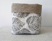 Neutral brown leaves storage bin, Large fabric basket, Housewarming gift for home organization