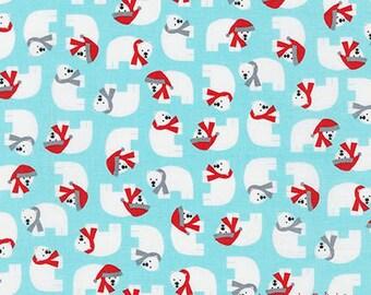 Polar Bear Fabric, Jingle 4, Ann Kelle, Robert Kaufman 15905 70 Aqua, Christmas Fabric, 100% Cotton Quilt Fabric