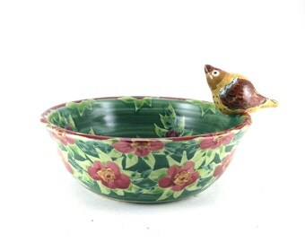 Unique Ceramic Bird Bowl - Green Handmade Porcelain Bowl with Handsculped Bird and Painted Flowers
