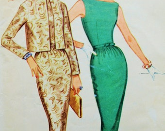 Vintage McCall's 5630 Sewing Pattern, 1960s Dress Pattern, Sheath Dress, 1960s Sewing Pattern, Bust 34, Bateau Neck Boat Neck Dress, Sixties