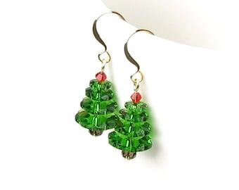Christmas Tree Earrings, Swarovski Crystal Green Tree Earrings, Gold Earrings, Xmas Red, Stocking Stuffer, Holiday Gift For Women, Gift Box