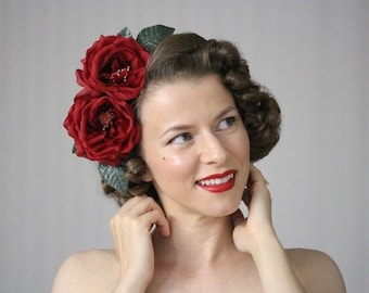 "Red Rose Headpiece, Large Floral Fascinator, Silk Flower Headband Womens, Hair Accessory Adult Hair Band, Vintage - ""Rose Upon Her Brow"""