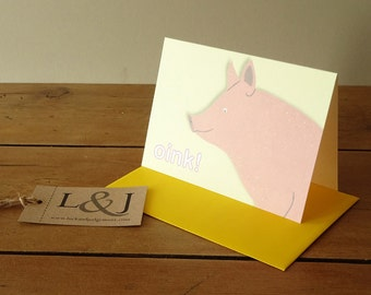 Pig Card - Pink Pig - Animal Card - Farm Animal - Piglet Card - Pig - Pig Greeting Card - Greeting Card - Illustrated - luckjudgementgifts