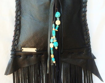 Aizlee Ocean Gypsy Bag - boho handbag, handmade from recycled black leather with fringe, turquoise, wood & glass beads -one of a kind, eco