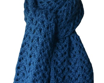 Hand Knit Scarf - Monaco Blue Alpaca Lace