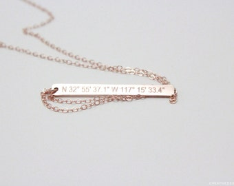14K Rose Gold GPS Coordinates Necklace - Vertical Necklace - Hand-Hammered Bar - GPS Necklace - Minimalist Necklace - Everyday Jewelry