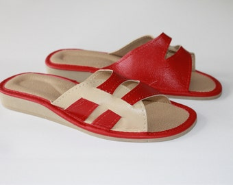 Red and beige summer slippers