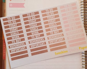 Rose Gold and Pink Collection Erin Condren Planner Stickers- Time of Day Labels