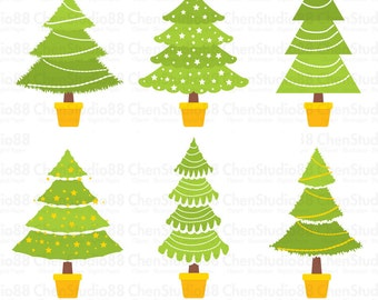 Christmas trees vector - Digital Clipart - Instant Download - EPS, PNG files included