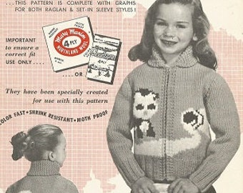 Vintage MARY MAXIM Knitting  Pattern:  KITTEN In The Milk -  No. 469 Graph-Style - c. 1957 -  Kiddies' 4 Ply Cardigan - Sizes 4 and 6
