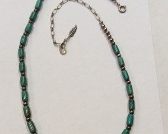Carolyn Pollack Turquiose And Silver Bead Necklace