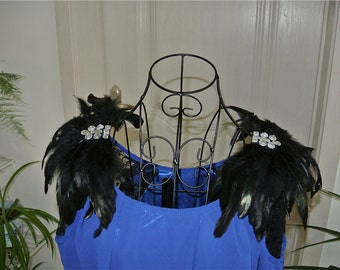Handmade Black feather epaulette pads Carnival feather shoulder shrug feather shawl burning man festival epaulettes