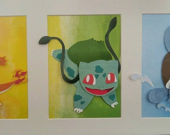 Pokemon 3D paper Art - the Starters