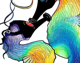 Seahorses with Gasmasks Couple, Original Art Print