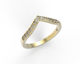 Wedding ring , 14K gold diamonds wedding ring, Anniversary ring, diamond engagement ring
