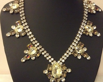 Vintage Czech rhinestone and glass Bjoux signed garland necklace