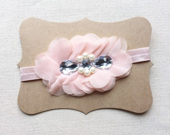 Pink or White Shabby Chic Chiffon Flower Baby Headband