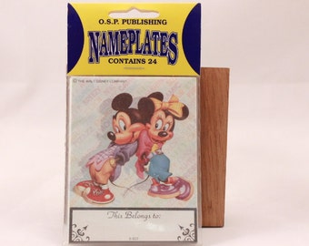 Vintage Mickey and Minnie Mouse 1980s Walt Disney Book Nameplates. 24 in Sealed Package