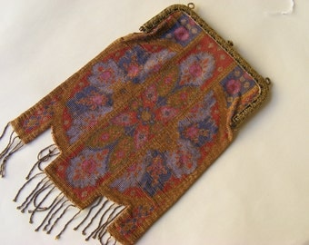 Beaded handbag Beadwork Weaving Wallet pearls Weaving Vintage Collection