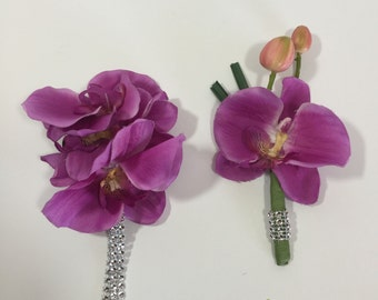 Pink/Purple Phalaenopsis Orchid Corsage And Boutonniere Set - 1