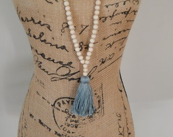 Long bead necklace with tan wood beads and blue gray tassel, bohemian style, beach boho, fall jewelry, layering necklace, yoga mala