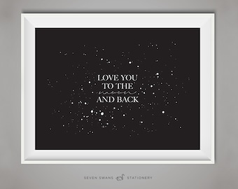 Minimalist print, stars print, moon print, night, moon printable, star quote, Love you to the moon, printable star quote, love printable
