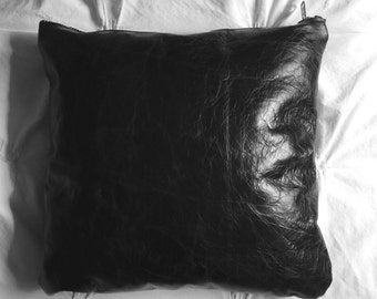 Black Leather Throw Pillow Cover