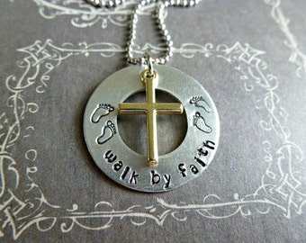 Christian Jewelry Walk By Faith Cross Necklace