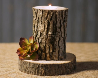 Rustic Log Candle Holder - Rustic Decor - Reclaimed Wood - Primitive Decor - Rustic Tealight Holder -Rustic Home Decor - Log Slice Candle