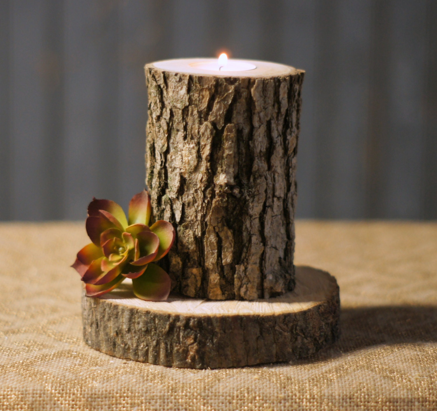 Rustic Log Candle Holder Rustic Decor Reclaimed By