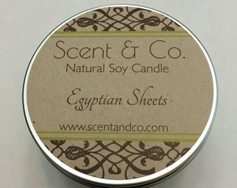 Egyptian Sheets || Soy Candle || Wood Wick || 8oz tin