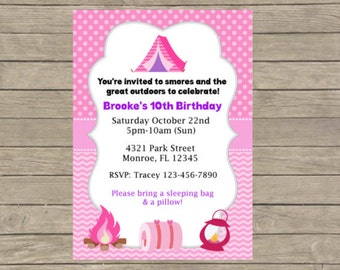 DIY - Camping Invitations/Childrens Party Invitations