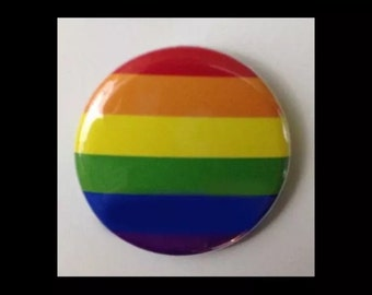 """Rainbow Flag Pin-Back Button gay pride LGBT 1""""-3"""" sizes available Round lesbian pin badge"""