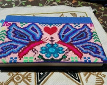 Handmade Embroidered Notebook // Recycled Material // Huichol Tribal Folk Art // Peyote Visionary Art // Psychedelic Ceremonial Eco-friendly