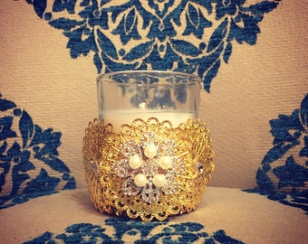 12Vintage inspired special occasion wedding gold filigree pearl votive candles