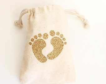 Baby shower decorations- Glitter gold- Baby shower- Baby footprint party favor bags
