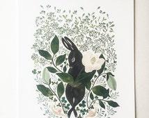 Rabbit illustration print, rabbit and flower botanical pattern wall decor, watercolour rabbit and botanical illustration print
