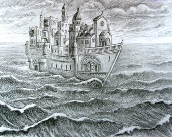 THE SAILING VILLAGE Graphite Drawing on Paper, Surreal Architecture, Magical, Fantasy, Seascape