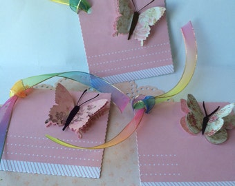 Butterfly gift tags, handmade gift tags, pink gift tags